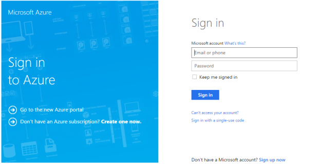 Azure Sign in page