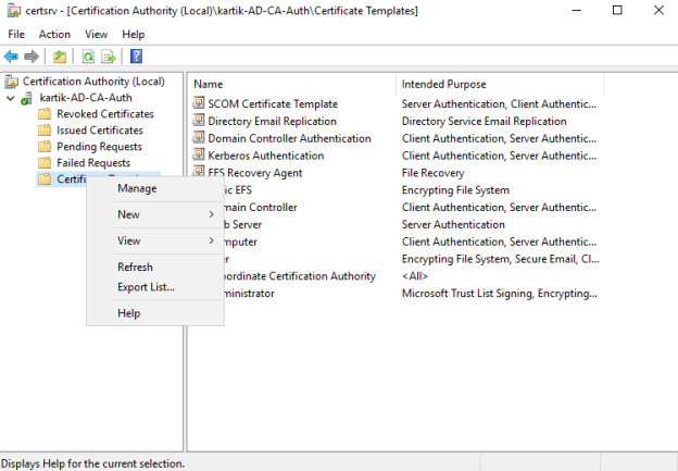 Installing Root Certificate Authority and Creating SCOM Template