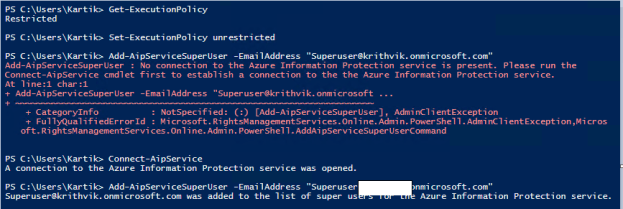 Powershell to configure Super user role in AIP